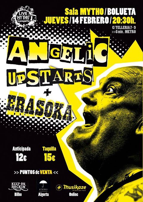 Cartel del concierto de Angelic Upstarts + Erasoka @ Sala Mytho, Bilbao, el jueves 14 de febrero de 2019