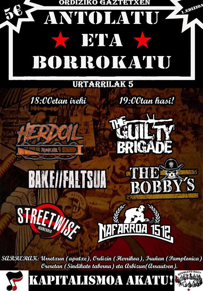 Concierto de The Guilty Brigade, Herdoil, Bake Faltsua, The Bobby's, Streetwise y Nafarroa 1512 @ Ordiziako Gaztetxea el sábado 5 de enero de 2019