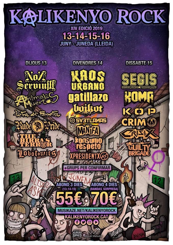Cartel del Kalikenyo Rock 2019, que se celebra en Juneda (Lleida) del 13 al 16 de junio de 2019