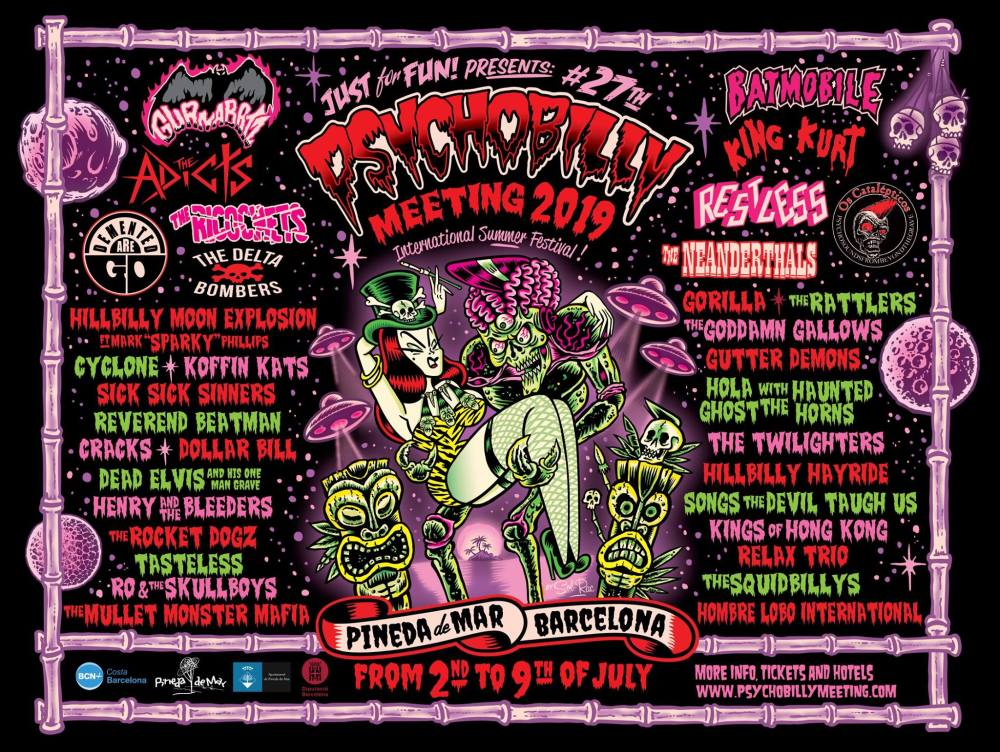 Cartel del Psychobilly Meeting 2019 de Pineda de Mar / Psychobilly Meeting 2019 full line up