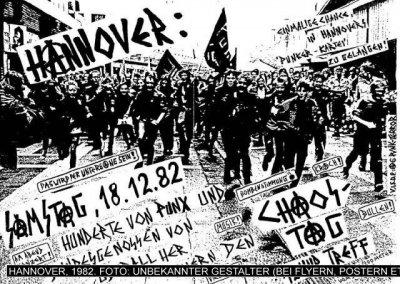 Cartel anunciando la convocatoria para acudir a Hannover el 18/12/1982