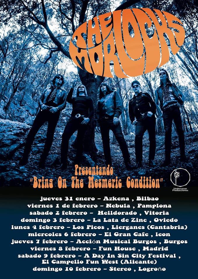 Cartel de la gira de The Morlocks durante enero y febrero en Bilbao, Pamplona, Vitoria-Gasteiz, Oviedo, Liérganes, León, Burgos, Madrid, El Campello y Alicante