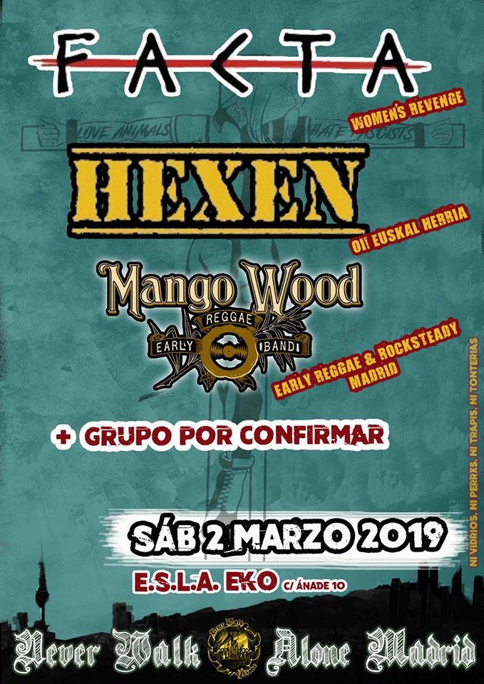 Cartel del concierto de Hexen, Facta y Mango Wood @ E.S.L.A. EKO, Carabanchel (Madrid), el sábado, 2 de marzo de 2019