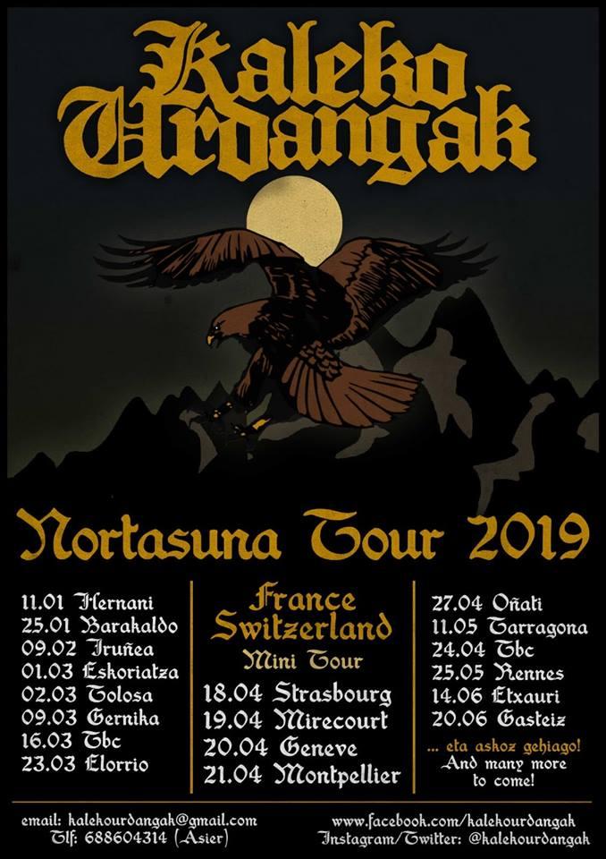 Próximos conciertos para Kaleko Urdangak durante enero, febrero, marzo, abril, mayo y junio de 2019