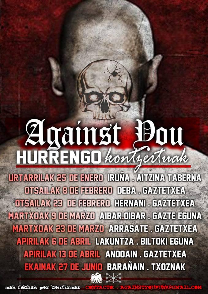 Cartel con los conciertos previstos para Against You en enero, febrero, marzo, abril y junio de 2019