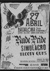 Cartel del concieto de Rude Pride, Simulacro y Bloody Gums @ Estraperlo Club, Badalona, el 23 de abril de 2019