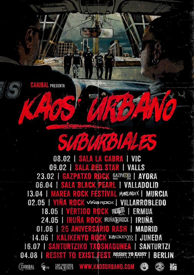 Próximos conciertos de Kaos Urbano en 2019, presentando su nuevo disco, 'Suburviales' (Potencial Hardcore, 2019)