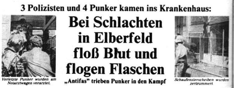 Recorte de prensa hablando sobre algunos incidentes entre punks y policía en Elberfeld en 1982