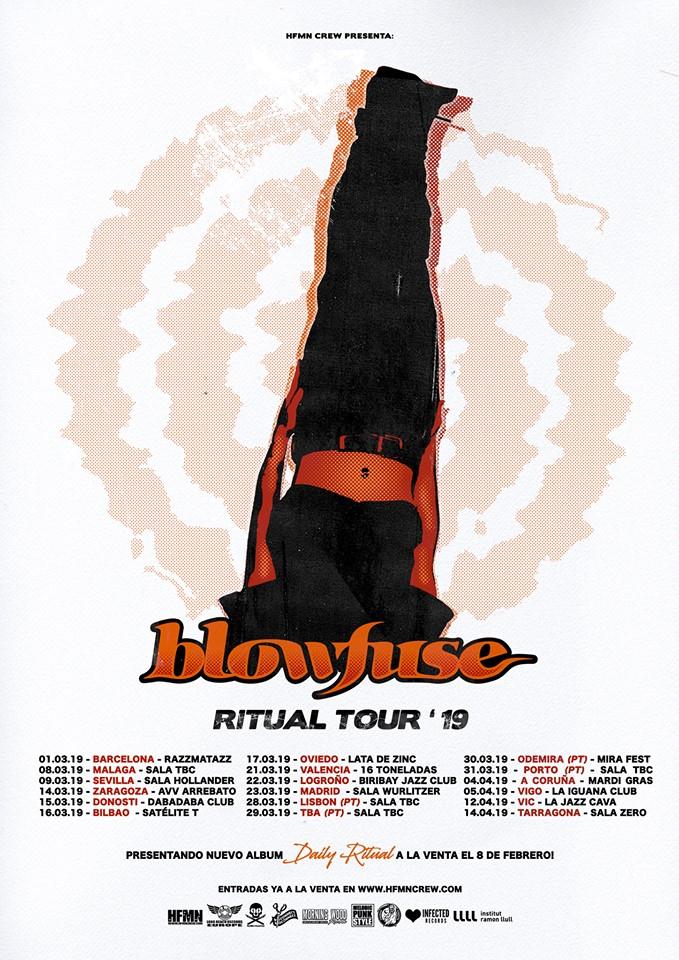 Fechas de los conciertos de Blowfuse en España durante la gira de presentación de Daily Ritual (2019)