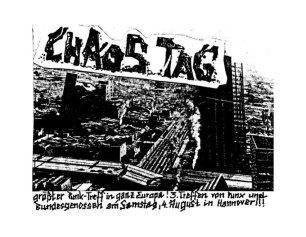 Un flyer llamando a acudir al Chaos-Tag de 1984