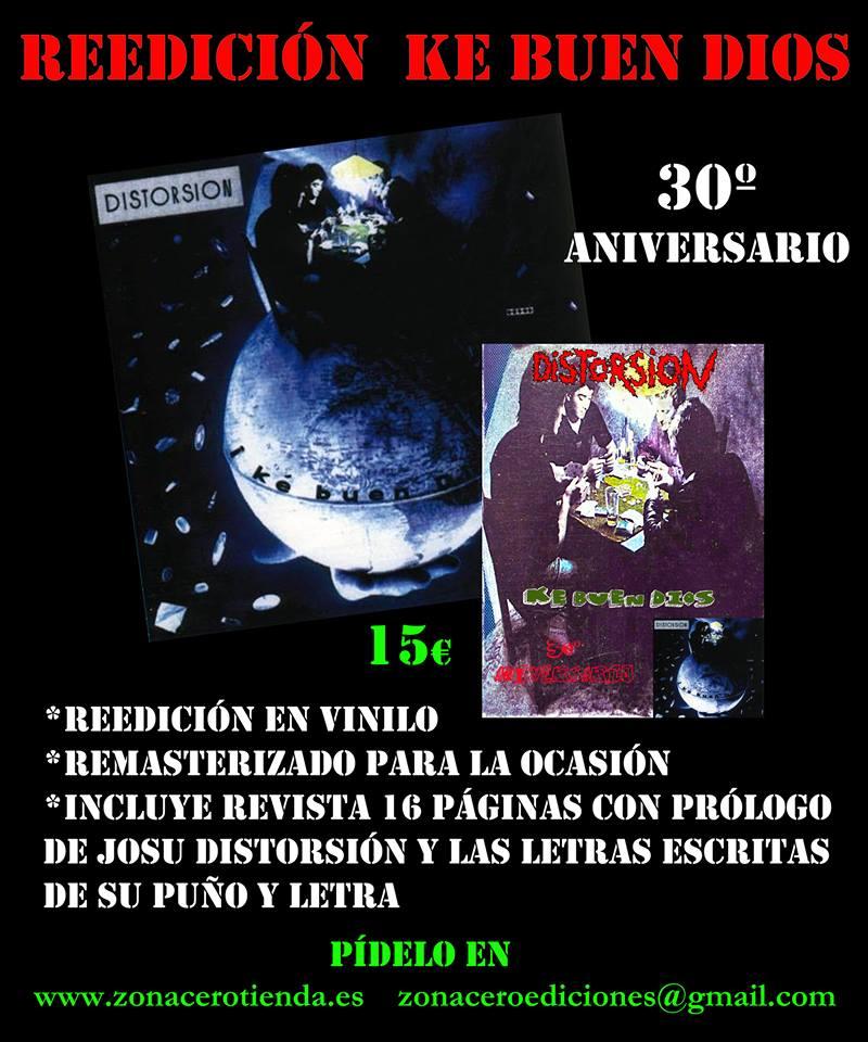 Reedición en vinilo de 'Ke Buen Dios' de Distorsión a cargo de Zona Cero con motivo de su 30º aniversario