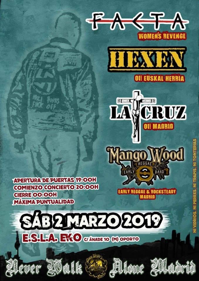 Cartel del concierto de Hexen, Facta, La Cruz y Mango Wood @ E.S.L.A. EKO, Carabanchel (Madrid), el sábado, 2 de marzo de 2019