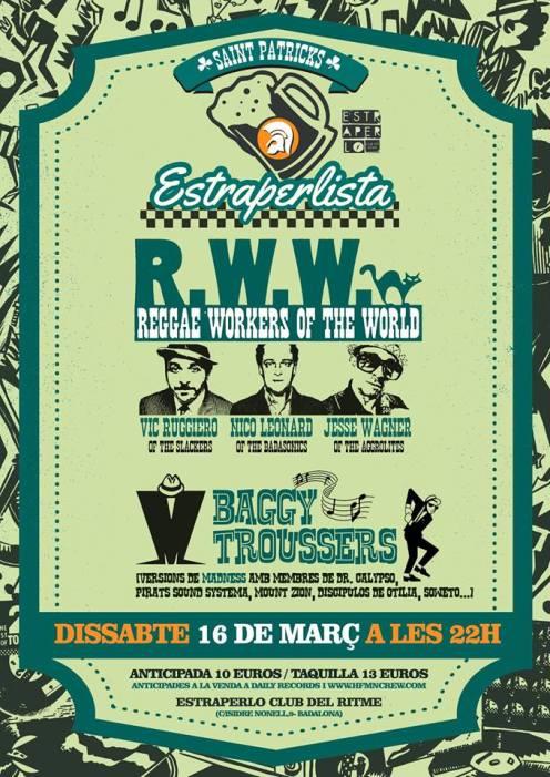 Cartel del concierto de Reggae Workers of the World @ Estraperlo Club, Badalona, el sábado 16 de marzo de 2019