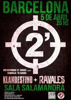 Cartel del concierto de 2 Minutos, Klandestino y Ravales @ Salamandra, Hospitalet, el viernes 5 de abril de 2019