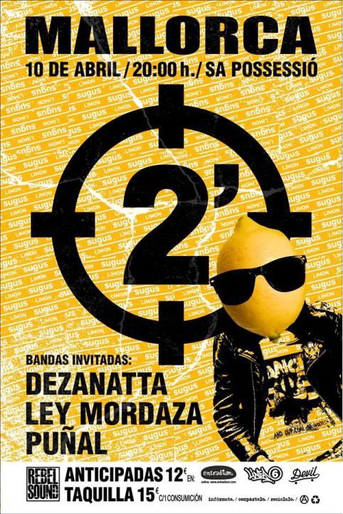 Cartel del concierto de 2 Minutos @ Sa Possessió, Mallorca