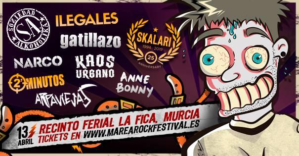 Cartel del Marearock Festival con 2 Minutos, Ilegales y más bandas