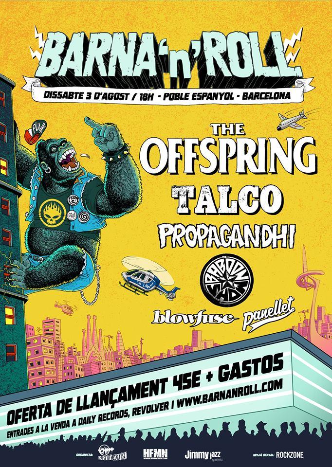 Cartel del Barna'n'Roll 2019 que se celebra en Barcelona el 3 de agosto con Offspring, Talco, Propagandhi, The Baboon Show, Blowfuse y Panellet