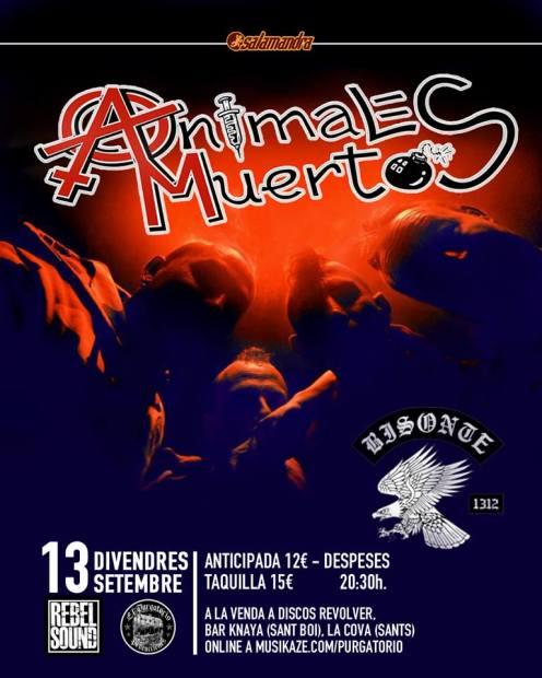 Cartel del concierto de Animales Muertos y Bisonte 1312 @ Sala Salamandra, Hospitalet (Barcelona), el 13 de septiembre de 2019