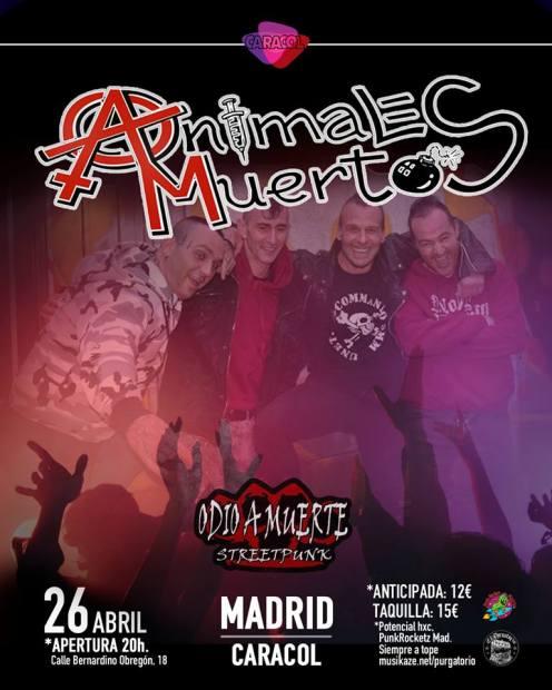 Cartel del concierto de Animales Muertos y Odio a Muerte @ Sala Caracol, Madrid, el 26 de abril de 2019