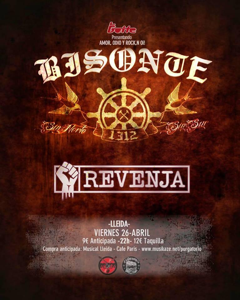 Cartel del concierto de Bisonte 1312 + Revenja @ La Boite, Lleida, el viernes 26 de abril de 2019