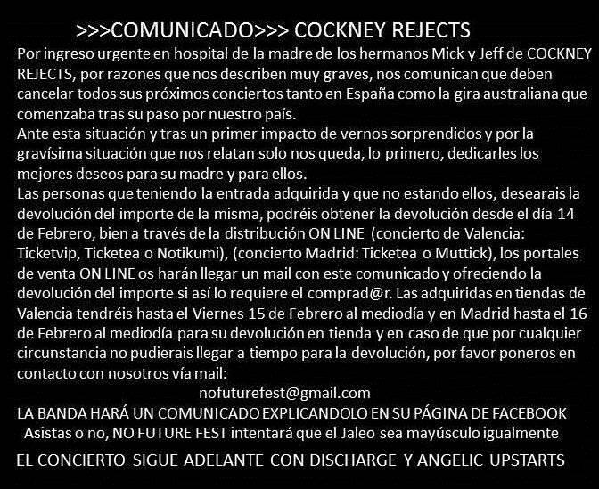 Comunicado de la cancelación de los conciertos de Cockney Rejects en el No Future Fest de Valencia y Madrid