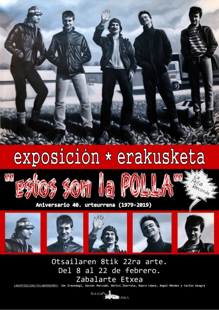 Cartel de la exposición sobre La Polla Recors en Agurain del 8 al 22 de febrero de 2019