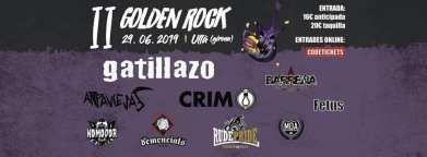 Cartel del Golden Rock 2019 con Gatillazo, CRIM Arpaviejas, Rude Pride, The Demencials, MDA, Fetus, Komodor y Barrena