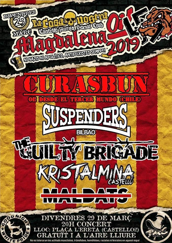 Cartel del Magdalena Oi! 2019 de Castelló con la presencia de Curasbun, Suspenders, The Guilty Brigade, Kristalmina y Maldats