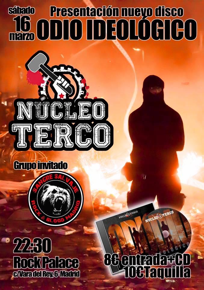Cartel del concierto de Núcleo Terco y Sangre Salvaje el 16 de marzo de 2019 @ Rock Palace, Madrid