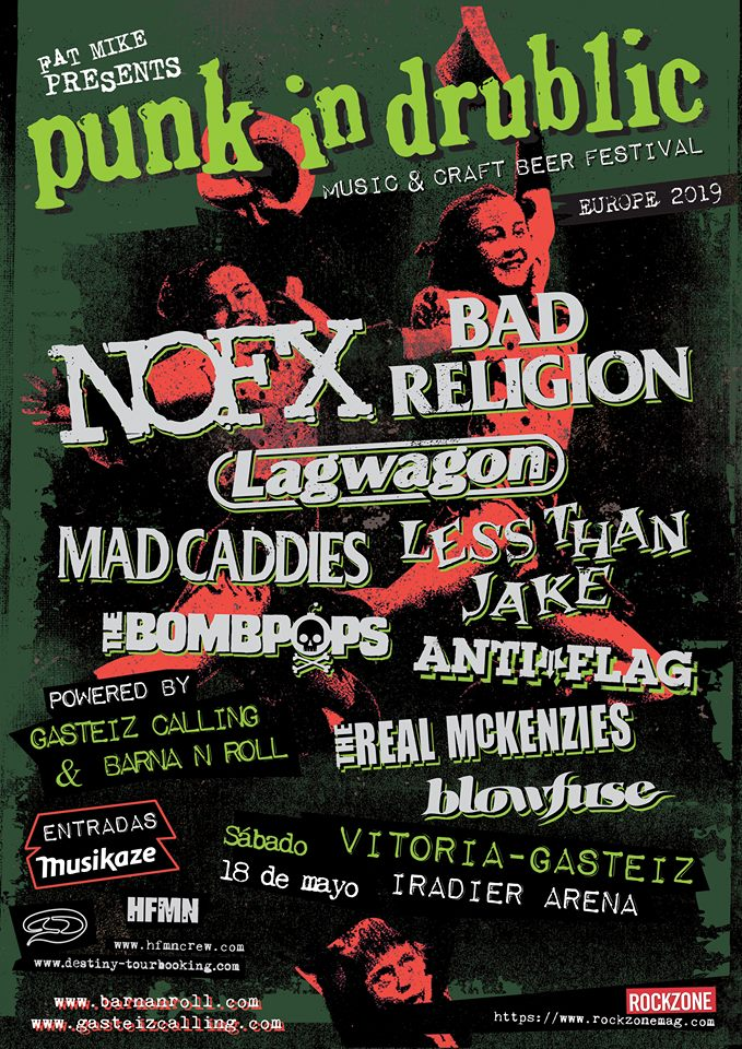 Cartel del Punk in Drublic Festival en Vitoria-Gasteiz el 18 de mayo de 2019 con Bad Religion, NOFX, Lagwagon, Less Than Jake, Mad Caddies, Anti-Flag, The Bompops, The Real McKenzies y Blowfuse