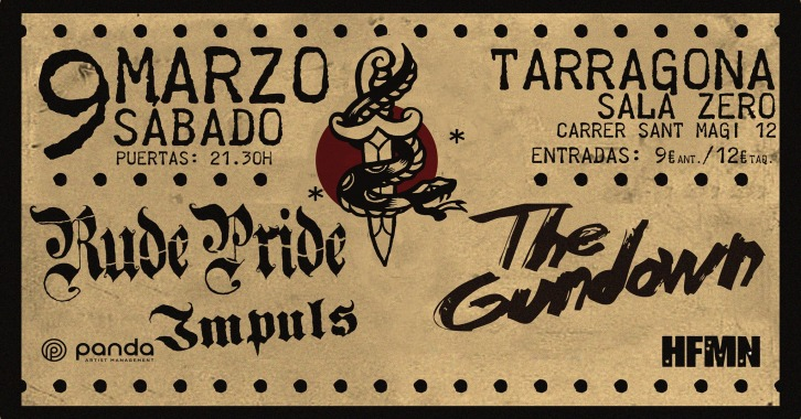Cartel del concierto de Rude Pride + The Gundown @ Sala Zero, Tarragona, el sábado 9 de marzo de 2019