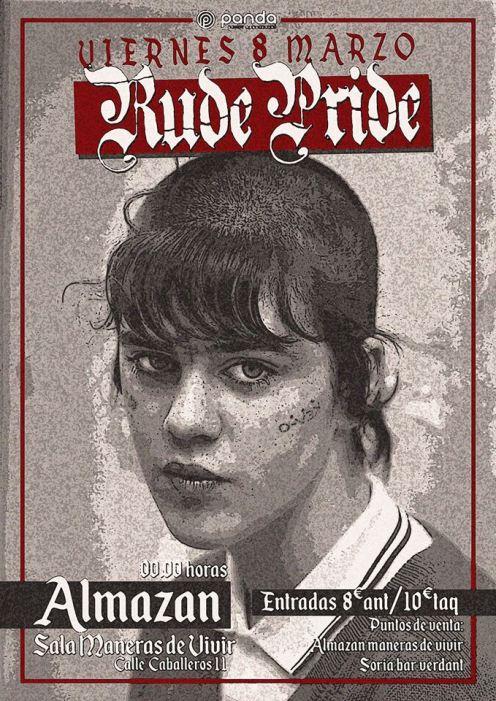 Cartel del concierto de Rude Pride @ Almazan, Soria, el viernes 8 de marzo de 2019