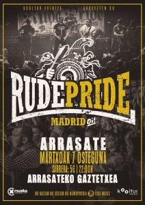 Cartel del concierto de Rude Pride @ Arrasate/Mondragón, el jueves 7 de marzo de 2019