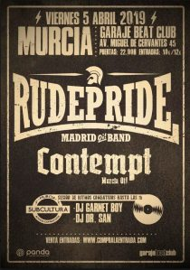 Cartel del concierto de Rude Pride y Contemp @ Murcia