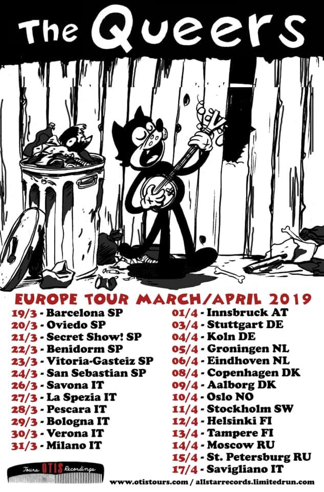 Cartel de la gira europea 2019 de The Queers con conciertos en Barcelona, Oviedo, Madrid, Fuzzvile Fest, Vitoria-Gasteiz y Donostia