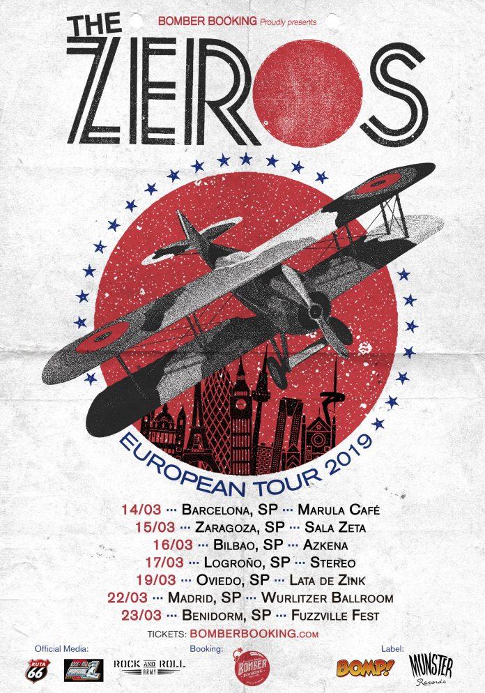 Cartel de la gira de The Zeros en marzo de 2019 con conciertos en Barcelona, Zaragoza, Bilbao, Logroño, Oviedo, Madrid y Benidorm (Fuzzville)