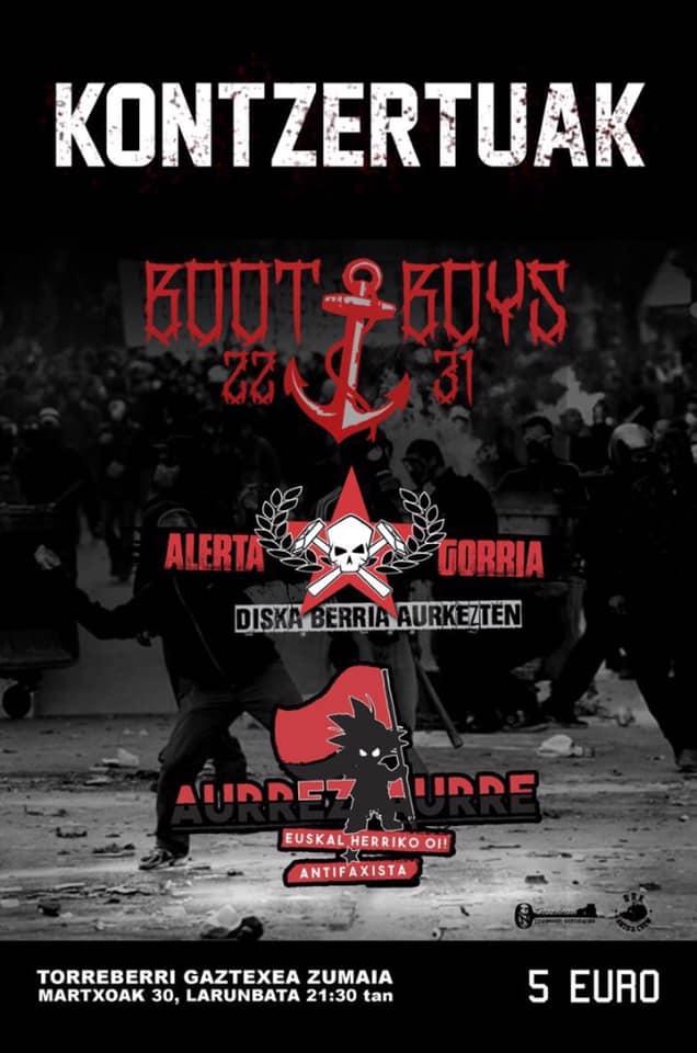 Cartel del concierto de Boot Boys + Alerta Gorria + Aurrez Aurre @ Torreberri Gaztetxea, Zumaia, el sábado 30 de marzo