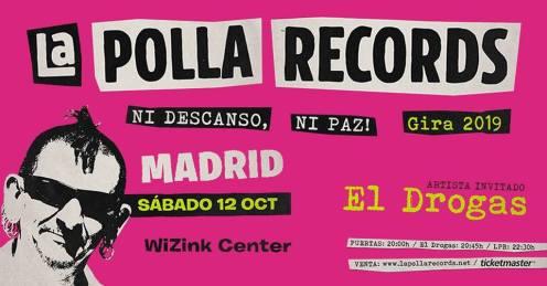 Cartel del concierto de La Polla Records + El Drogas @ Wizink Center, Madrid