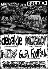 Cartel del God Save The God con Debakle + Kronstadt + Neds + Glenn Football @ AC Tugurio, Córdoba, jueves 18 de abril de 2019