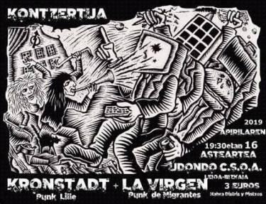Cartel del concierto de Kronstadt + La Virgen @ Udondo Gaztetxea, Leioa, el 16 de abril de 2019