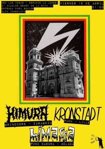 Cartel del concierto de Kronstadt + Himura + Limassa @ CSA Las Vegas, Málaga, viernes 19 de abril de 2019
