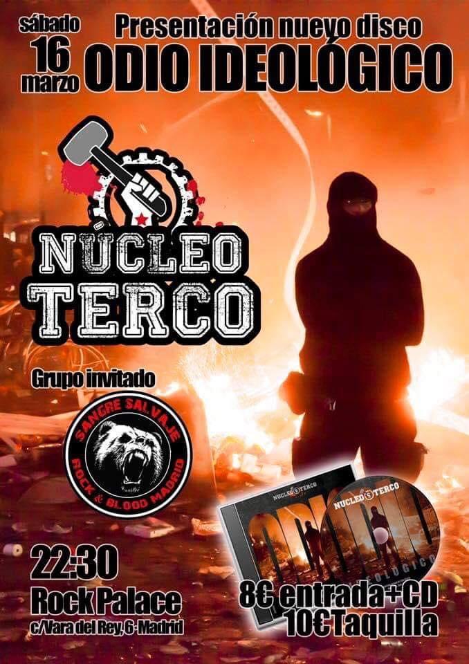 Cartel del concierto de Núcleo Terco + Sangre Salvaje @ Rock Palace, Madrid, el sábado 16 de marzo de 2019