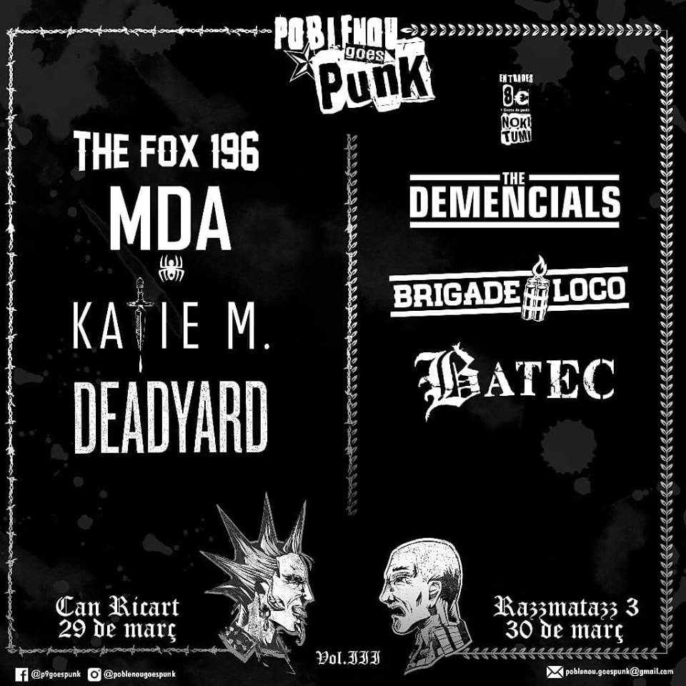 Poblenou Goes Punk Vol. III con The Demencials, Brigade Loco, Batec, MDA, The Fox 196, Katie M y Deadyard