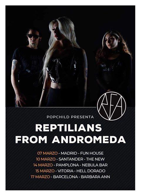 Cartel de la gira de Reptilians From Andromeda con conciertos en Madrid, Santander, Vitoria-Gasteiz, Pamplona y Barcelona