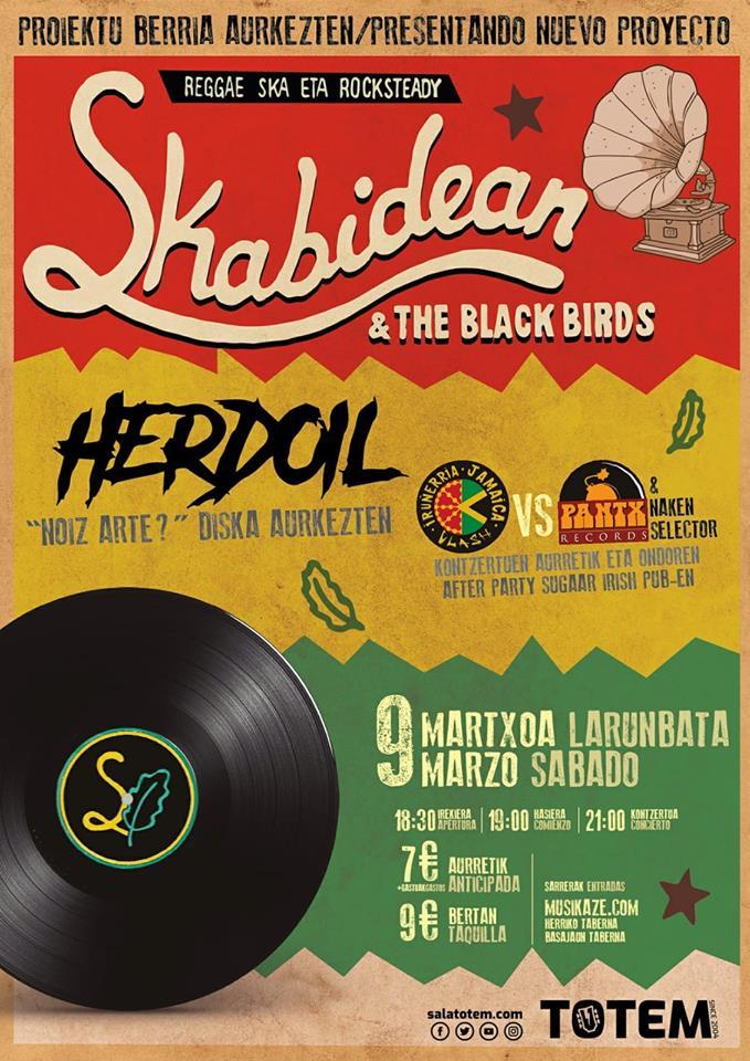 Cartel del concierto de Skabidean & The Black Birds + Herdoil @ Sala Totem, Villaba, el sábado 9 de marzo de 2019