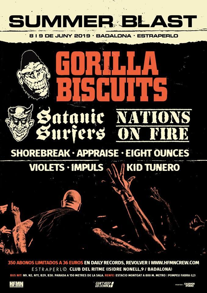 Summer Blast con Gorilla Biscuits y Satanic Surfers @ Estrraperlo Club, días 8 y 9 de junio