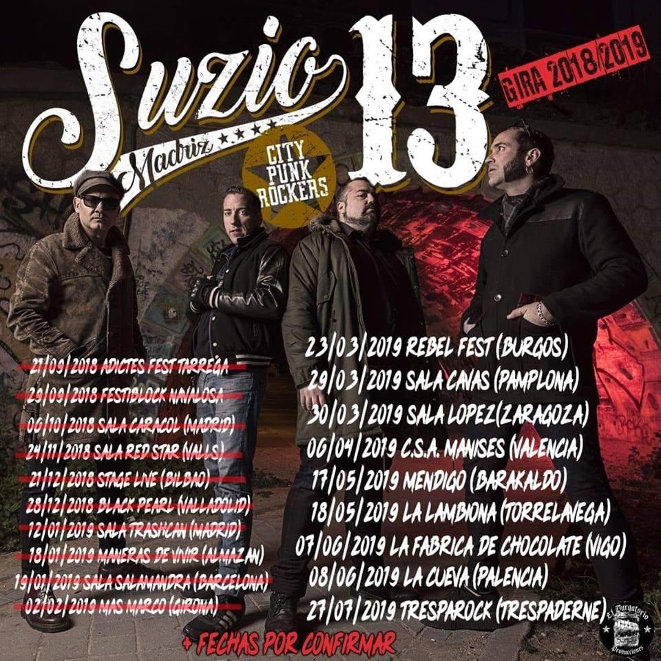 Próximos conciertos para Suzio 13 en 2019