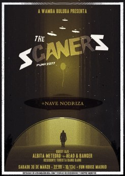 Cartel del concierto de The Scaners y Nave Nodriza @ Fun House (Madrid)