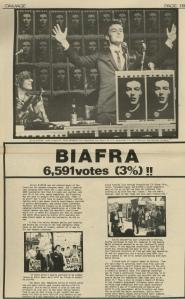 Hoja con resultados de Jello Biafra