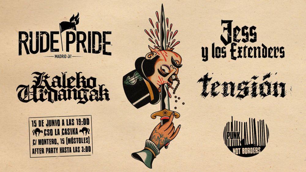 Cartel del concierto Rude Pride + Kaleko Urdangak + Tensión + Jess y Los Extenders @ La Casika, Móstoles, el sábado 15 de junio de 2019